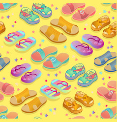 summer shoes seamless pattern isometric vector image