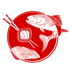 sushi fish vector image