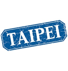 Taipei blue square grunge retro style sign vector