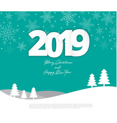 text 2019 christmas paper style on merry vector image