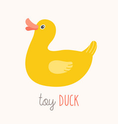 toy duck flash card kids wall art first word vector image