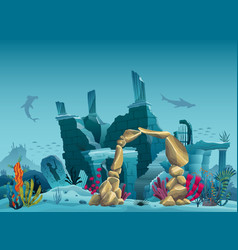 Underwater ruins old city and sandstone vector