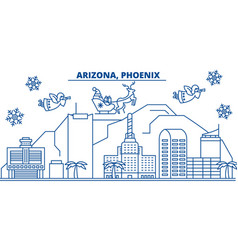Usa arizona phoenix winter city skyline merry vector