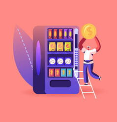 Vending machine food concept man put coin for vector