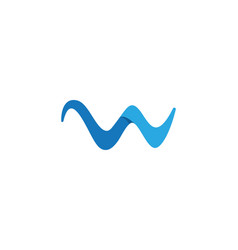 W letter water wave logo template vector