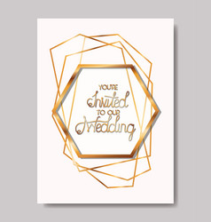 wedding invitation with golden frame vector image