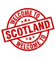welcome to scotland red stamp vector image