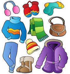 Winter apparel collection 1 vector