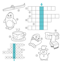 Winter crossword for kids task and answer vector