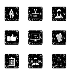 Work icons set grunge style vector