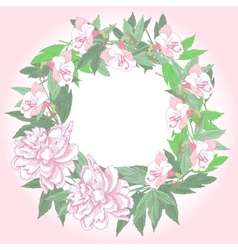 Wreath with two pink peonies and flowers vector image