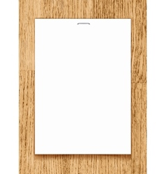 blank paper A4 sheet on wooden background vector image
