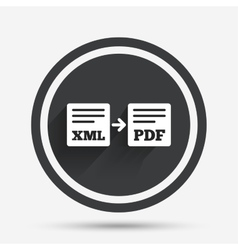Export XML to PDF icon File document symbol vector image vector image