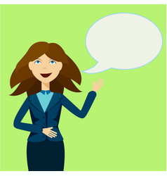 girl with announcement and speech bubble vector image vector image