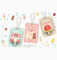ice cream tags vector image vector image