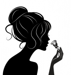 beauty girl silhouette with rose vector image vector image
