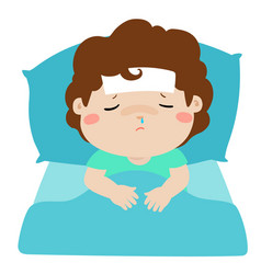 little sick boy in bed cartoon vector image