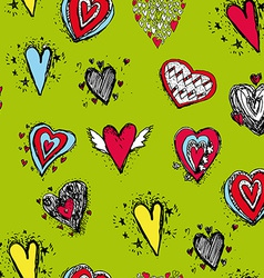 Set of funny heart with wings sketch doodle vector image