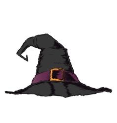 Black creepy witch hat with violet belt vector image