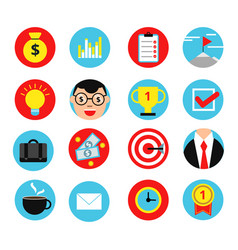 business icon set in flat style vector image vector image