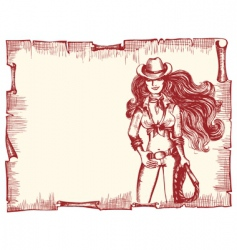 cowgirl poster vector image vector image