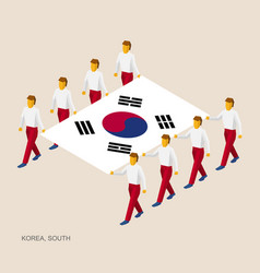 eight people hold big flag of south korea vector image vector image