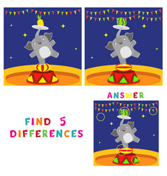 find five differences children educational game vector image