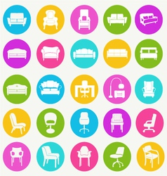 interior icon set-flat furniture icons vector image
