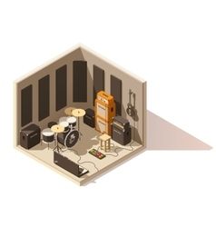 isometric low poly recording studio icon vector image vector image