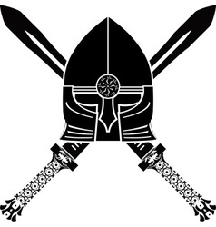 medieval helmet and swords vector image vector image