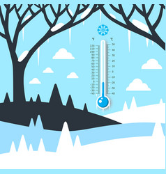 winter landscape with thermometer frozen land vector image vector image