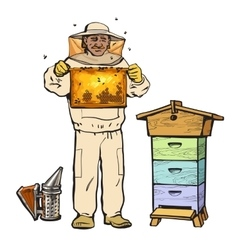 Beekeeper in protective gear holding honeycomb and vector image vector image