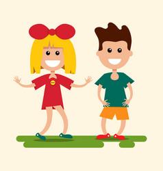 boy and girl flat design kids cartoon vector image