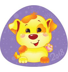 Cute symbol of chinese horoscope - yellow dog vector