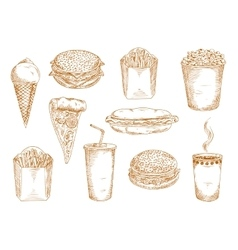 Fast food dishes with drinks and desserts sketch vector image