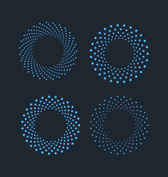 halftone dots in circle shape round dotted logo vector image