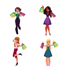 happy black and caucasian women with shopping bags vector image vector image