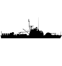 river gunboat silhouette vector image vector image
