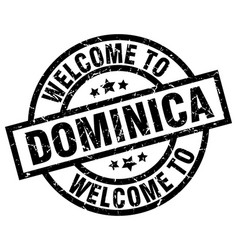 welcome to dominica black stamp vector image vector image