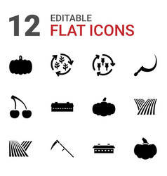 12 harvest icons vector