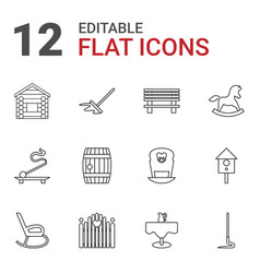 12 wooden icons vector