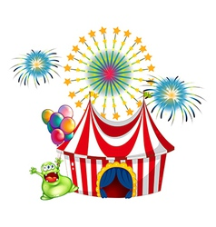 A happy monster outside the carnival vector image