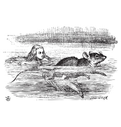 Alice swimming near a mouse vector image