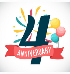 Anniversary 4 years template with ribbon vector