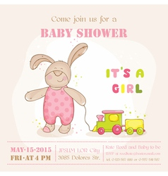 baby shower or arrival card - with bunny vector image