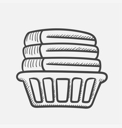basket with linen hand drawn sketch icon vector image