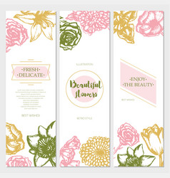 beautiful flowers - color hand drawn square vector image
