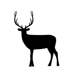 black silhouette a deer animal icon vector image