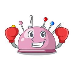 Boxing wicker basket on a pincushion cartoon vector