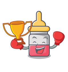 Boxing winner nassal drop mascot cartoon vector